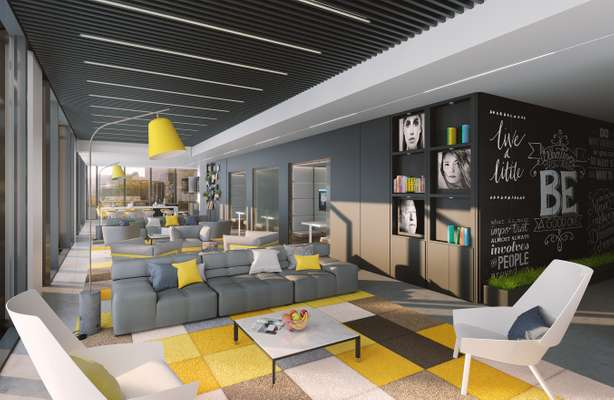 CGI of NEO first floor lounge showing grey sofa, yellow lamp, rug and chalk board walls.
